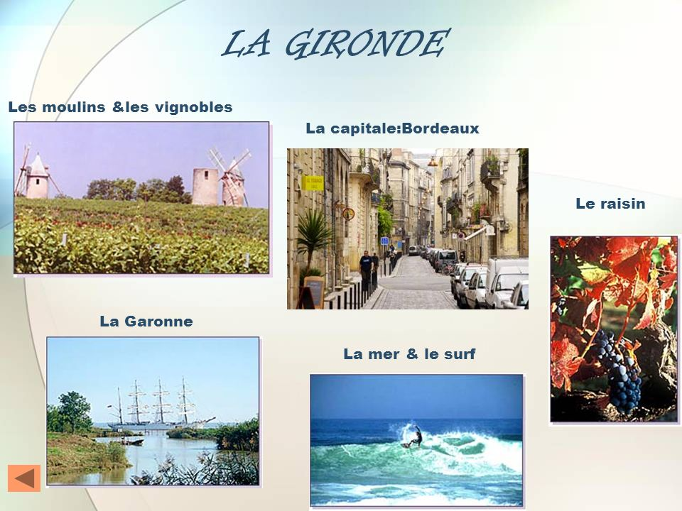 LA GIRONDE Le raisin La capitale:Bordeaux Les moulins &les vignobles La Garonne La mer & le surf