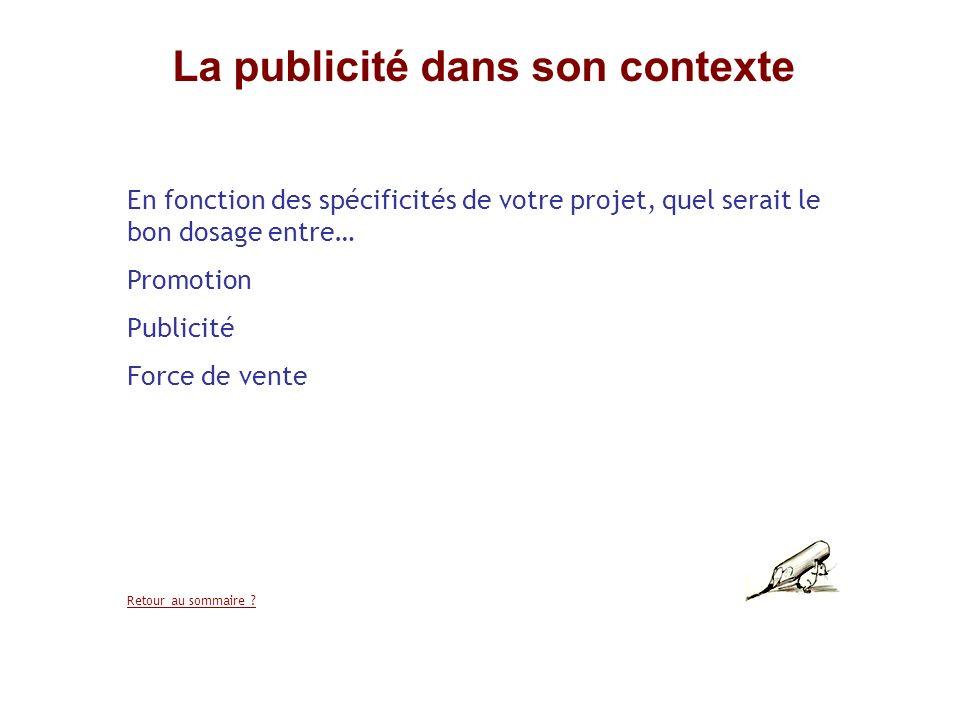 La publicité dans son contexte En fonction des spécificités de votre projet, quel serait le bon dosage entre… Promotion Publicité Force de vente Retou