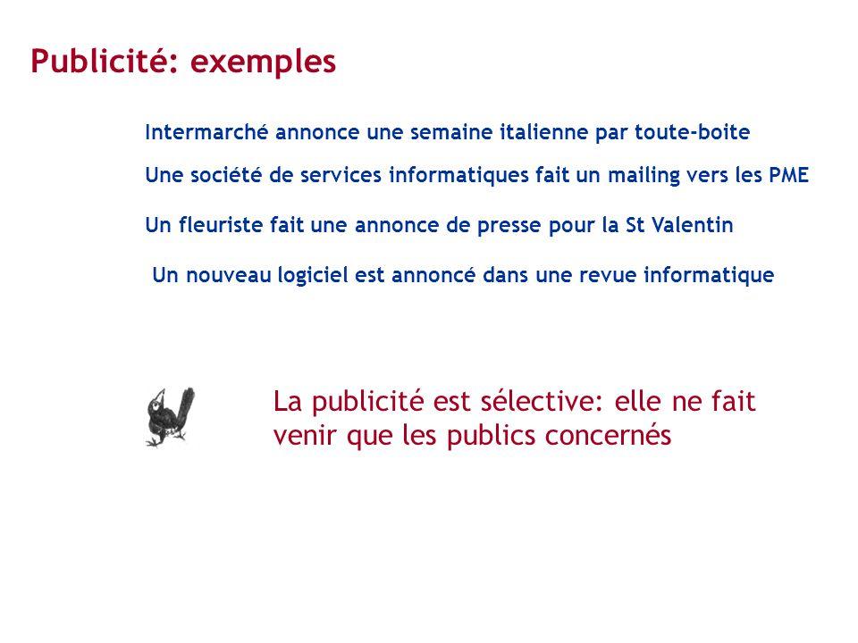 Publicité: exemples Intermarché annonce une semaine italienne par toute-boite Une société de services informatiques fait un mailing vers les PME Un fl