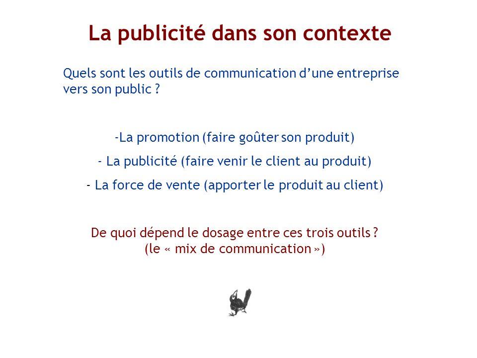 Quels sont les outils de communication dune entreprise vers son public ? -La promotion (faire goûter son produit) - La publicité (faire venir le clien