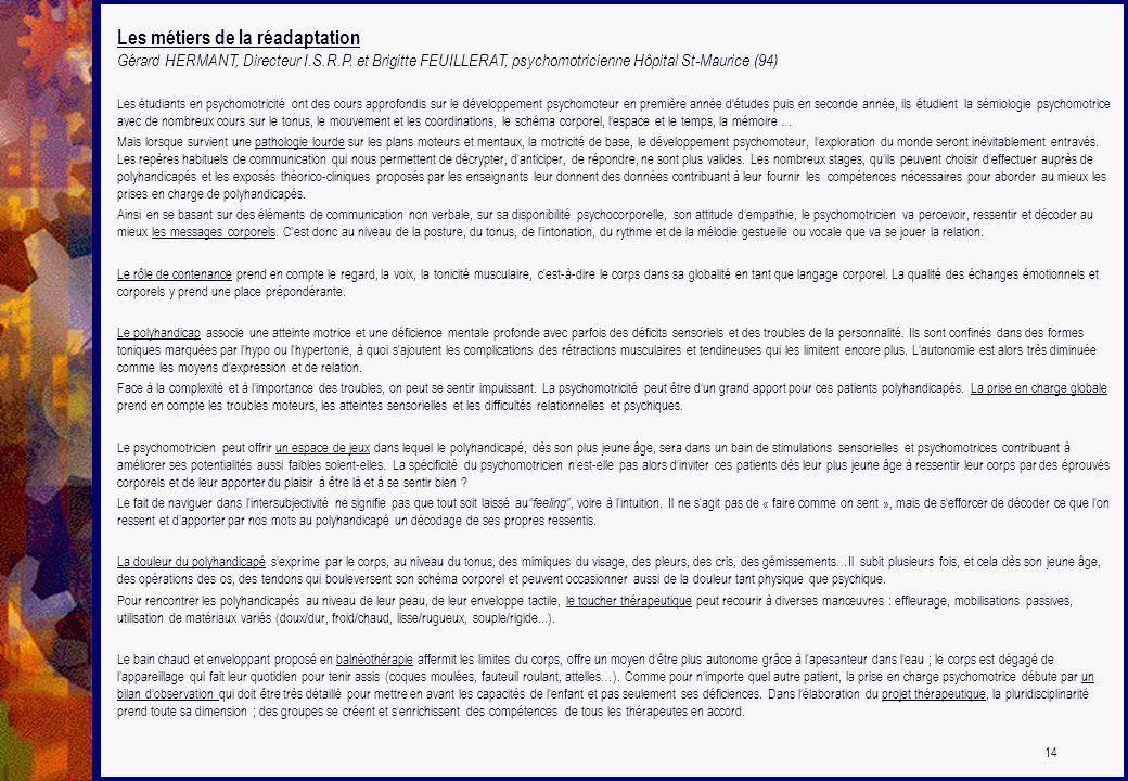 Les métiers de la réadaptation Gérard HERMANT, Directeur I.S.R.P. et Brigitte FEUILLERAT, psychomotricienne Hôpital St-Maurice (94) Les étudiants en p