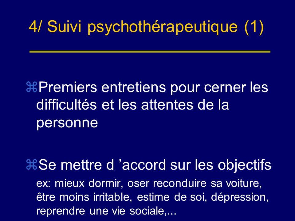4/ Suivi psychothérapeutique (1) Premiers entretiens pour cerner les difficultés et les attentes de la personne Se mettre d accord sur les objectifs e