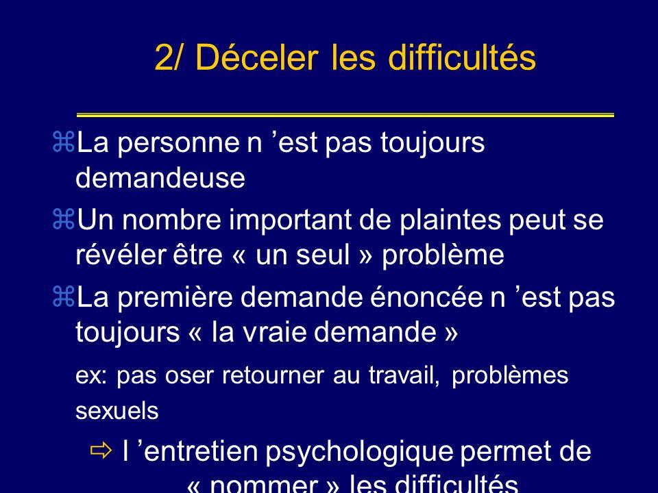 2/ Déceler les difficultés La personne n est pas toujours demandeuse Un nombre important de plaintes peut se révéler être « un seul » problème La prem