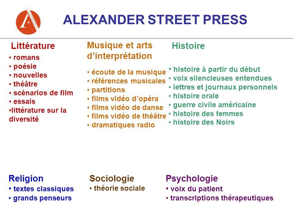 ALEXANDER STREET PRESS Littérature Musique et arts dinterprétation Histoire Religion textes classiques grands penseurs Sociologie théorie sociale Psyc