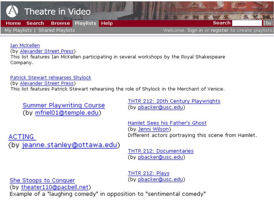 Theatre in Video 500 heures de représentations et de documentaires.
