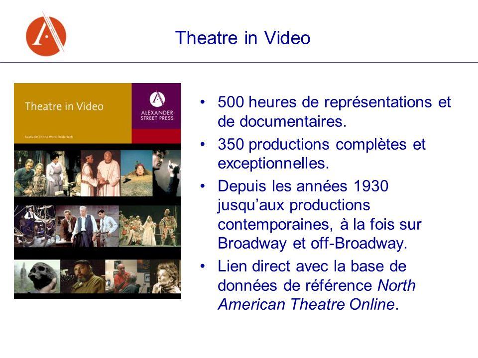 Theatre in Video 500 heures de représentations et de documentaires. 350 productions complètes et exceptionnelles. Depuis les années 1930 jusquaux prod