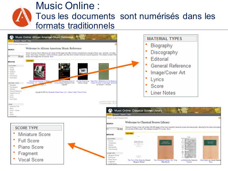 Music Online : Tous les documents sont numérisés dans les formats traditionnels