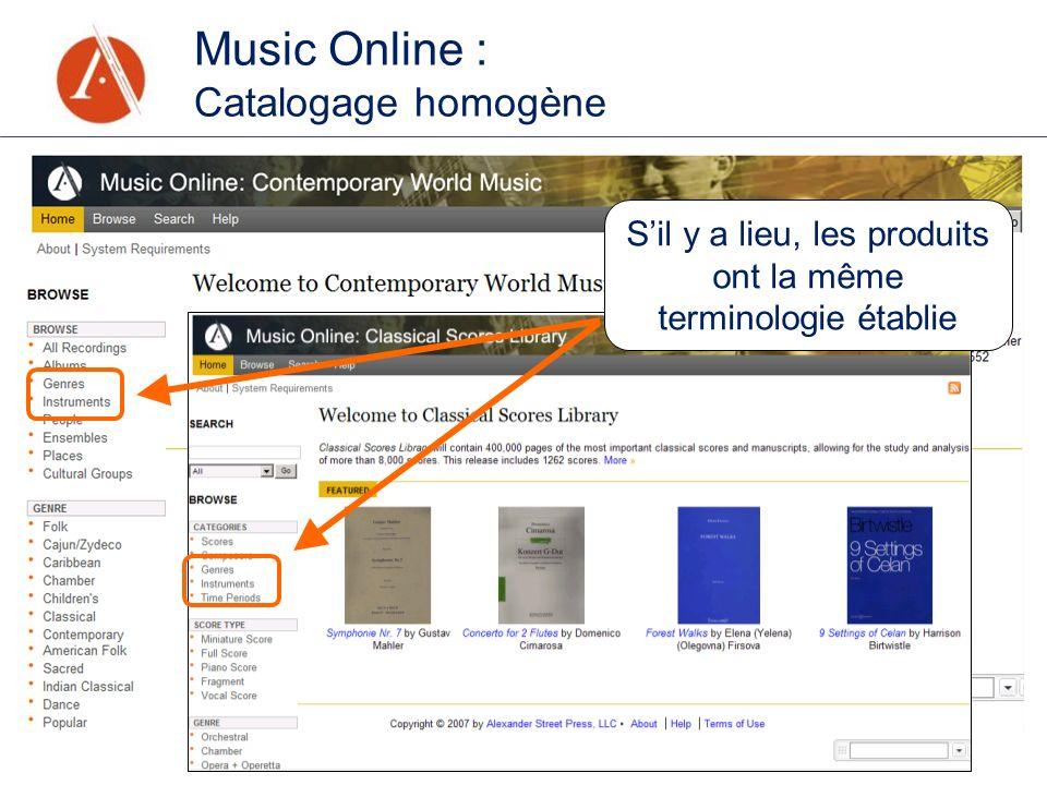 Music Online : Catalogage homogène Sil y a lieu, les produits ont la même terminologie établie