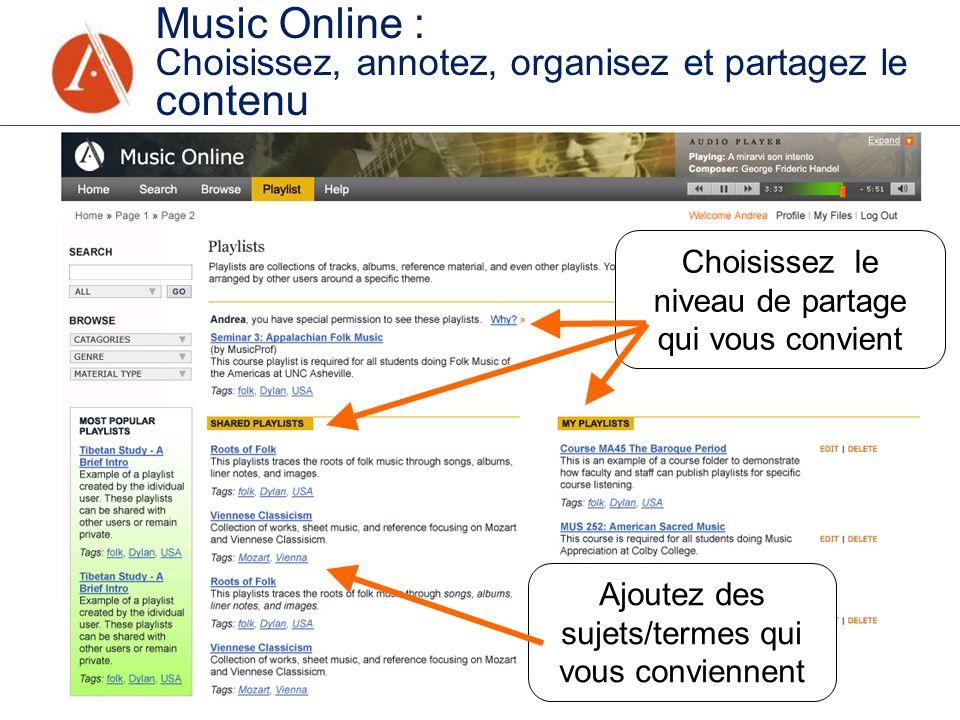 Music Online : Choisissez, annotez, organisez et partagez le contenu Choisissez le niveau de partage qui vous convient Ajoutez des sujets/termes qui v