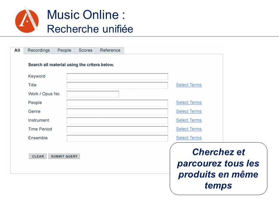 Music Online : Recherche unifiée Cherchez et parcourez tous les produits en même temps