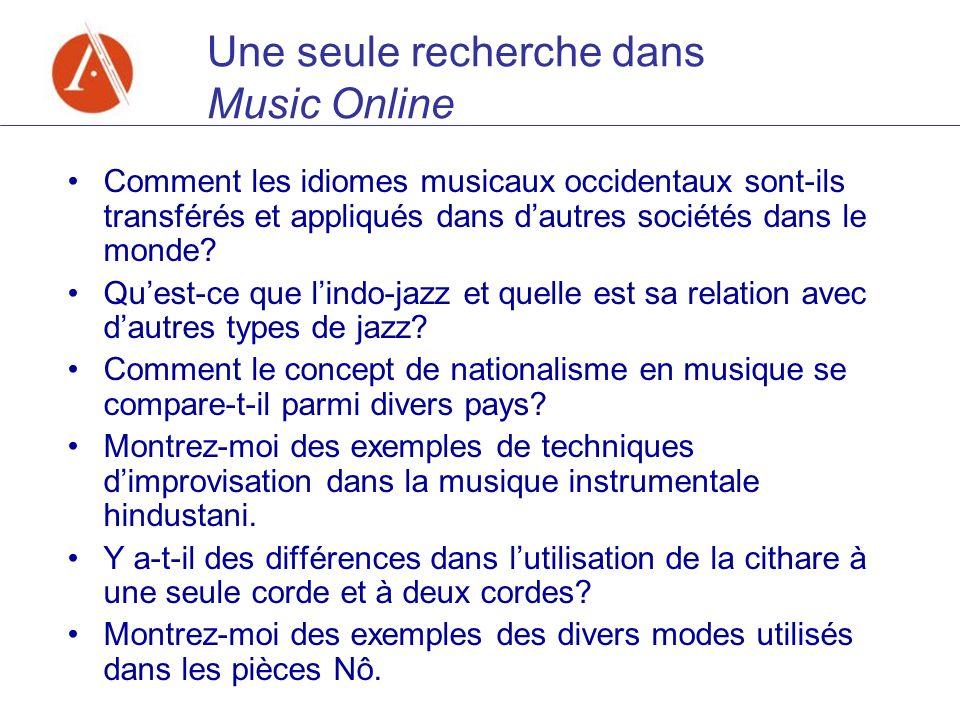 Une seule recherche dans Music Online Comment les idiomes musicaux occidentaux sont-ils transférés et appliqués dans dautres sociétés dans le monde? Q