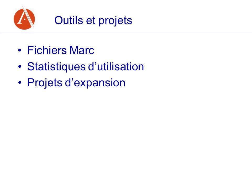 Outils et projets Fichiers Marc Statistiques dutilisation Projets dexpansion