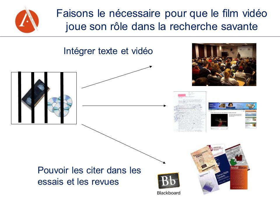 Faisons le nécessaire pour que le film vidéo joue son rôle dans la recherche savante Pouvoir les citer dans les essais et les revues Intégrer texte et