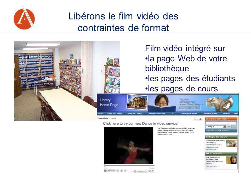 Film vidéo intégré sur la page Web de votre bibliothèque les pages des étudiants les pages de cours Libérons le film vidéo des contraintes de format