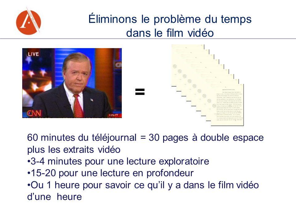 60 minutes du téléjournal = 30 pages à double espace plus les extraits vidéo 3-4 minutes pour une lecture exploratoire 15-20 pour une lecture en profo