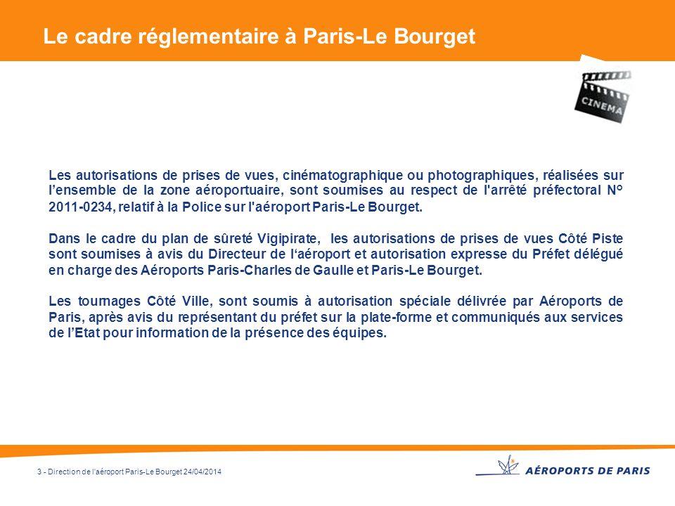 3 - Direction de l'aéroport Paris-Le Bourget 24/04/2014 Le cadre réglementaire à Paris-Le Bourget Les autorisations de prises de vues, cinématographiq