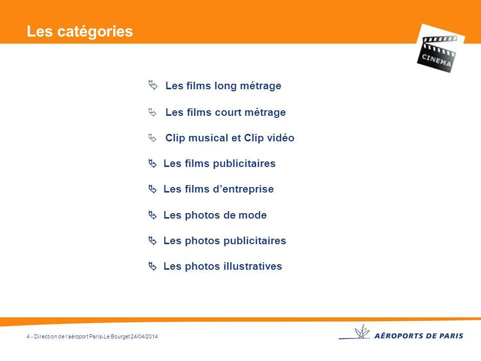 4 - Direction de l'aéroport Paris-Le Bourget 24/04/2014 Les catégories Les films long métrage Les films court métrage Clip musical et Clip vidéo Les f