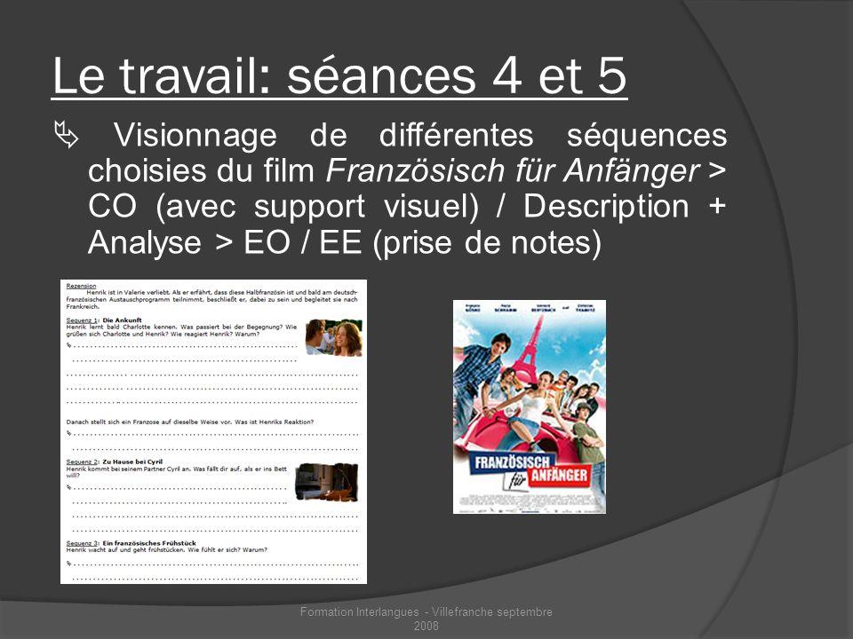Le travail: séances 4 et 5 Visionnage de différentes séquences choisies du film Französisch für Anfänger > CO (avec support visuel) / Description + An