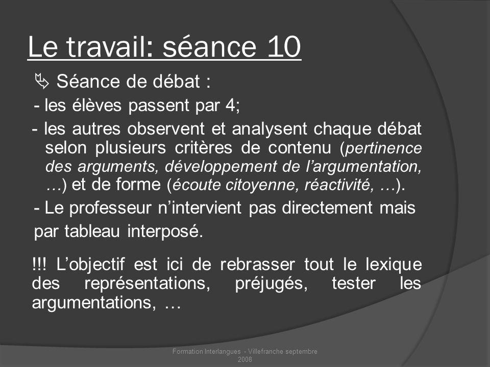 Le travail: séance 10 Séance de débat : - les élèves passent par 4; - les autres observent et analysent chaque débat selon plusieurs critères de conte