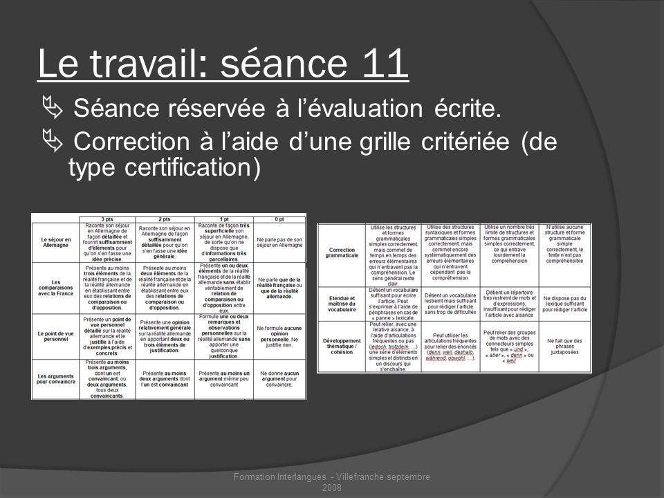Le travail: séance 11 Séance réservée à lévaluation écrite. Correction à laide dune grille critériée (de type certification) Formation Interlangues -