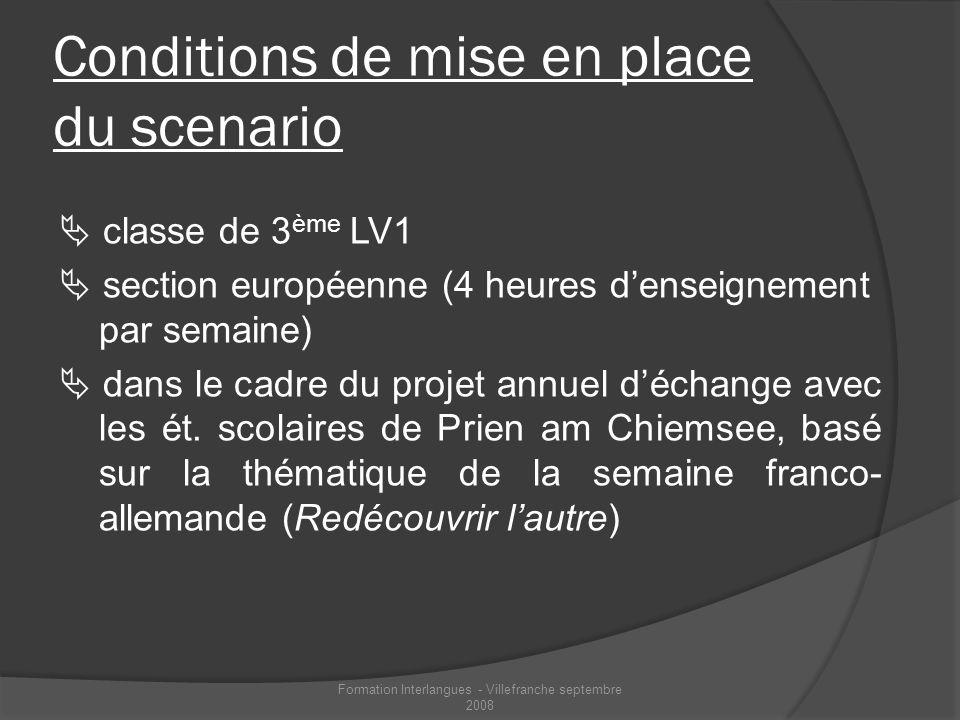 Conditions de mise en place du scenario classe de 3 ème LV1 section européenne (4 heures denseignement par semaine) dans le cadre du projet annuel déc