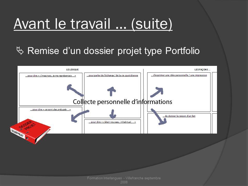 Avant le travail … (suite) Remise dun dossier projet type Portfolio Formation Interlangues - Villefranche septembre 2008