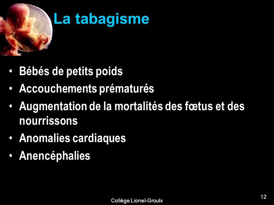 Collège Lionel-Groulx 12 La tabagisme Bébés de petits poids Accouchements prématurés Augmentation de la mortalités des fœtus et des nourrissons Anomal