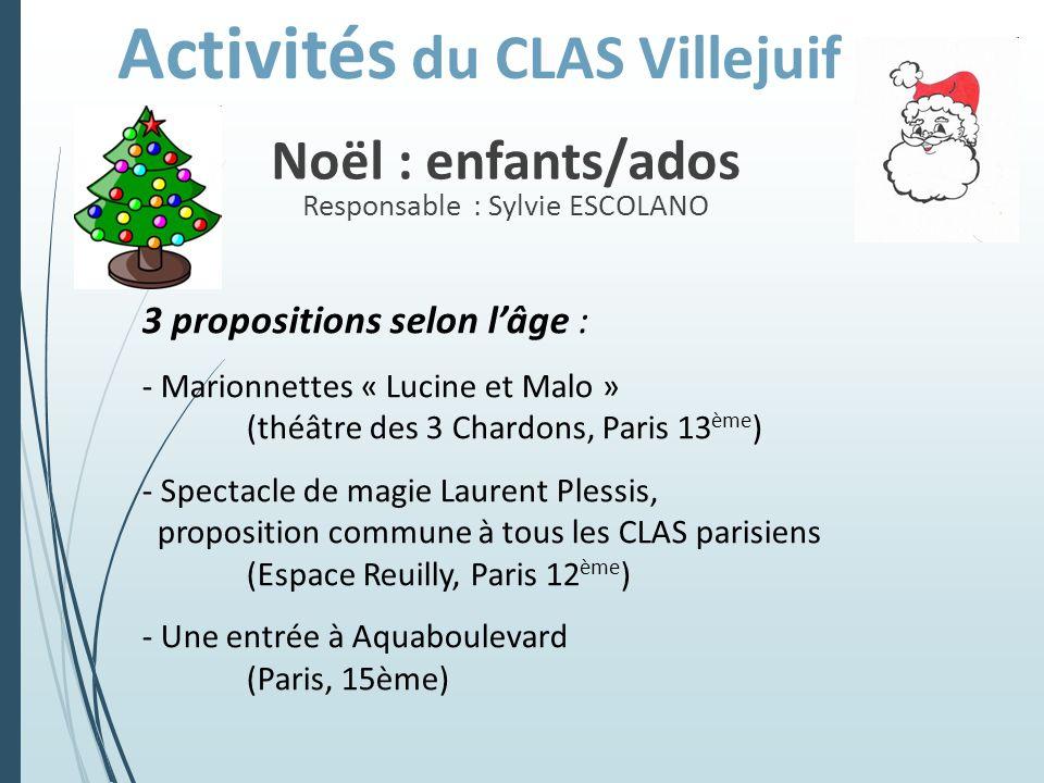 Noël : enfants/ados Responsable : Sylvie ESCOLANO 3 propositions selon lâge : - Marionnettes « Lucine et Malo » (théâtre des 3 Chardons, Paris 13 ème