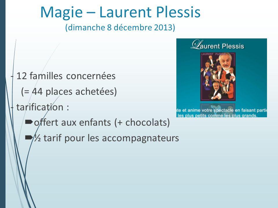 Magie – Laurent Plessis (dimanche 8 décembre 2013) - 12 familles concernées (= 44 places achetées) - tarification : offert aux enfants (+ chocolats) ½