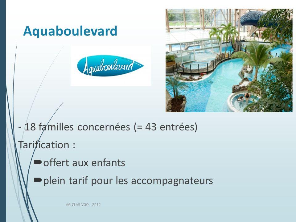Aquaboulevard AG CLAS VGO - 2012 - 18 familles concernées (= 43 entrées) Tarification : offert aux enfants plein tarif pour les accompagnateurs