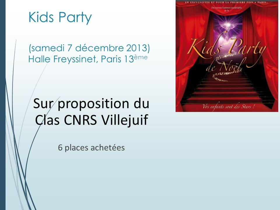 Kids Party (samedi 7 décembre 2013) Halle Freyssinet, Paris 13 ème Sur proposition du Clas CNRS Villejuif 6 places achetées