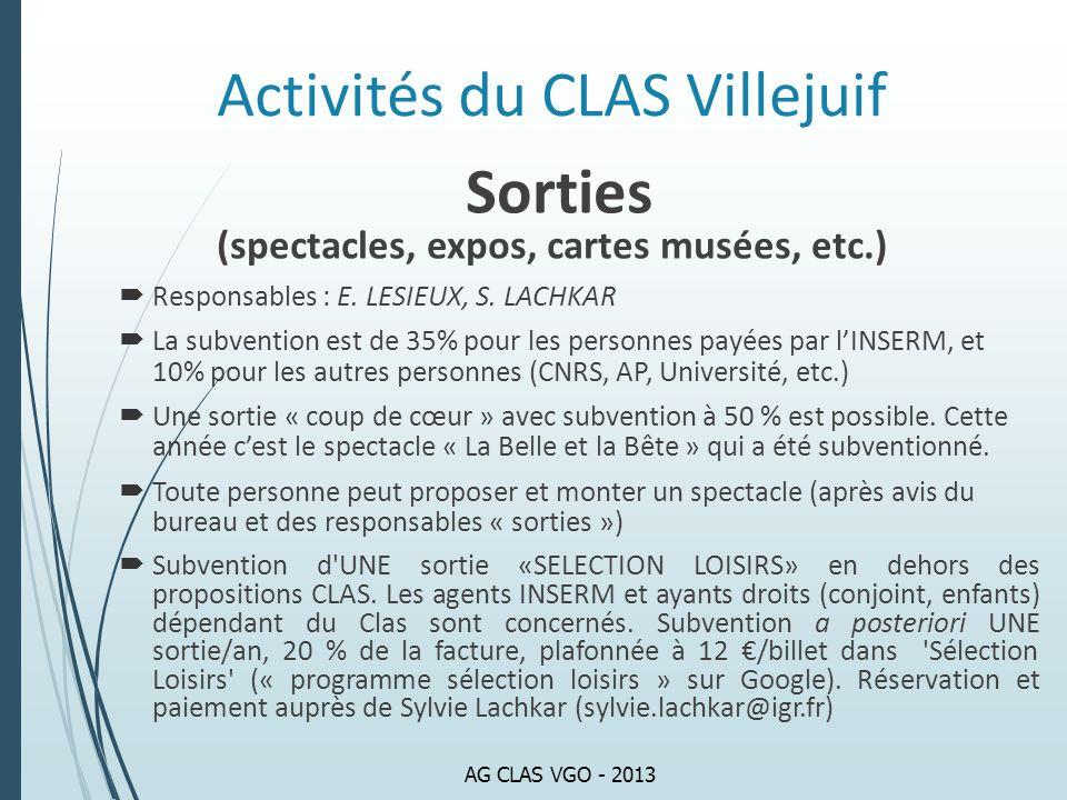 Activités du CLAS Villejuif Sorties (spectacles, expos, cartes musées, etc.) Responsables : E. LESIEUX, S. LACHKAR La subvention est de 35% pour les p