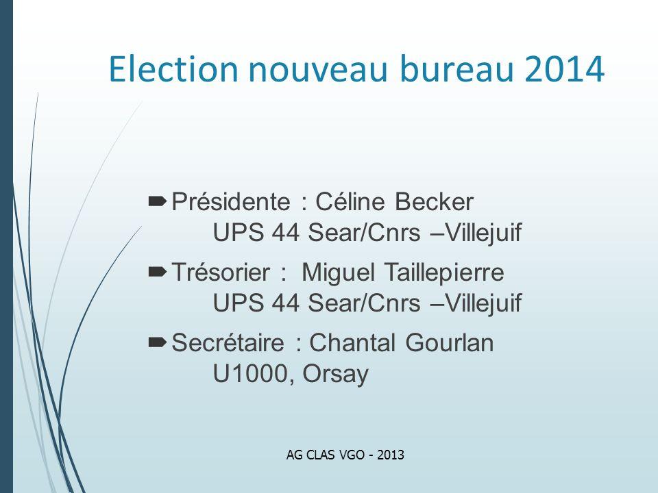 Election nouveau bureau 2014 Présidente : Céline Becker UPS 44 Sear/Cnrs –Villejuif Trésorier : Miguel Taillepierre UPS 44 Sear/Cnrs –Villejuif Secrét