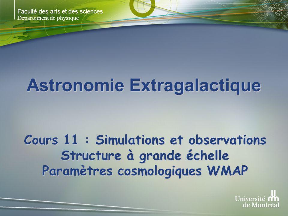 Faculté des arts et des sciences Département de physique Astronomie Extragalactique Cours 11 : Simulations et observations Structure à grande échelle Paramètres cosmologiques WMAP