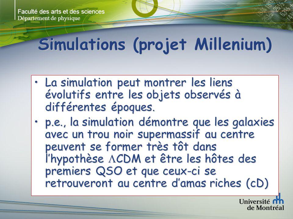 Faculté des arts et des sciences Département de physique Simulations (projet Millenium) La simulation peut montrer les liens évolutifs entre les objets observés à différentes époques.La simulation peut montrer les liens évolutifs entre les objets observés à différentes époques.
