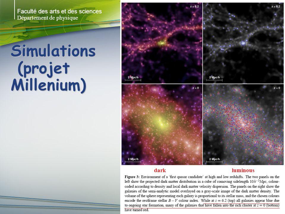 Faculté des arts et des sciences Département de physique Simulations (projet Millenium) darkluminous