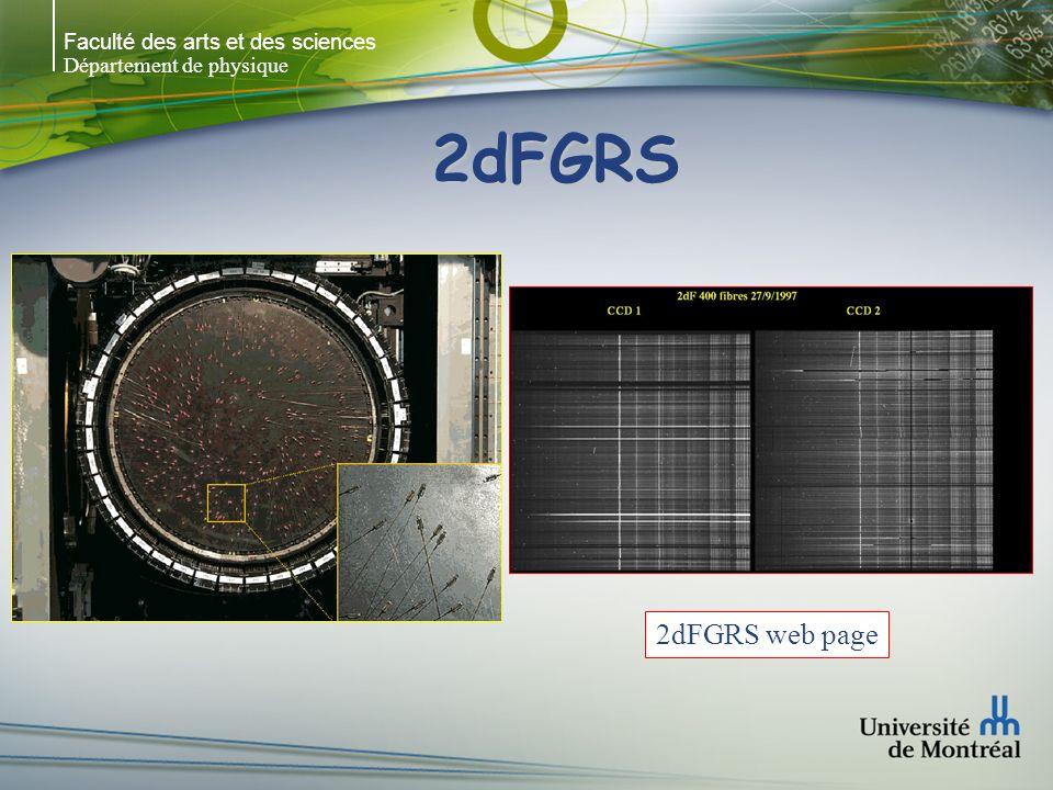 Faculté des arts et des sciences Département de physique 2dFGRS 2dFGRS web page