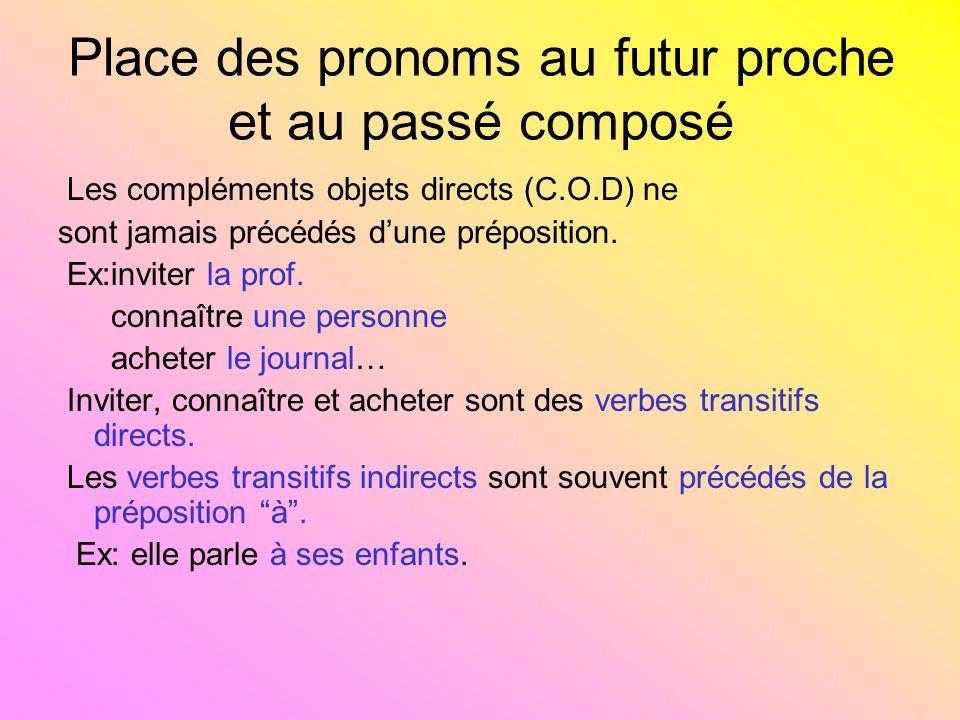Place des pronoms au futur proche et au passé composé Les compléments objets directs (C.O.D) ne sont jamais précédés dune préposition. Ex:inviter la p