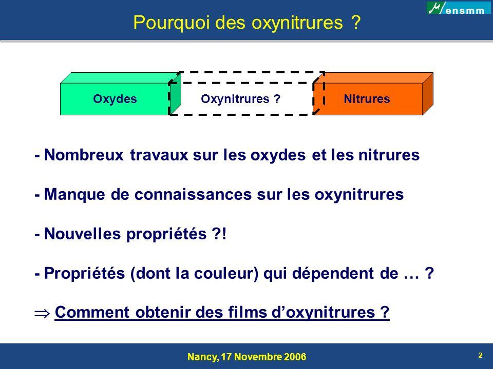 Nancy, 17 Novembre 2006 2 Pourquoi des oxynitrures ? - Nombreux travaux sur les oxydes et les nitrures - Manque de connaissances sur les oxynitrures -