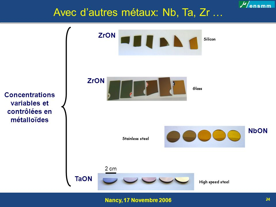 Nancy, 17 Novembre 2006 24 Avec dautres métaux: Nb, Ta, Zr … Concentrations variables et contrôlées en métalloïdes TaON NbON ZrON 2 cm