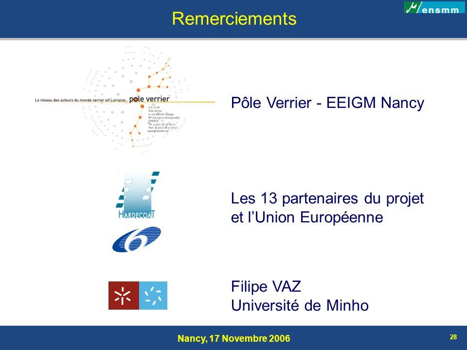 Nancy, 17 Novembre 2006 28 Remerciements Les 13 partenaires du projet et lUnion Européenne Pôle Verrier - EEIGM Nancy Filipe VAZ Université de Minho