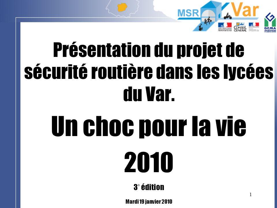 1 Présentation du projet de sécurité routière dans les lycées du Var. Un choc pour la vie 2010 3° édition Mardi 19 janvier 2010