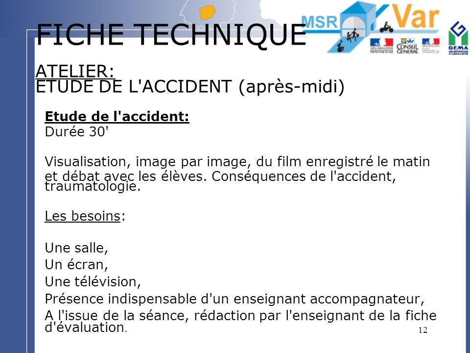 12 FICHE TECHNIQUE ATELIER: ETUDE DE L'ACCIDENT (après-midi) Etude de l'accident: Durée 30' Visualisation, image par image, du film enregistré le mati