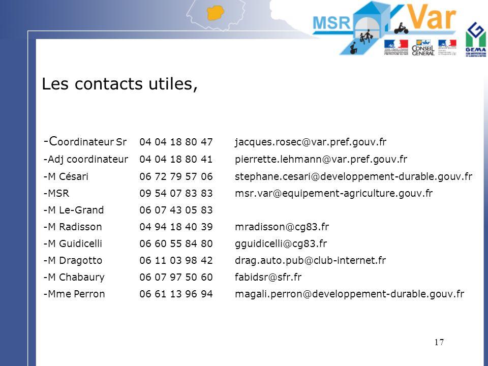 17 Les contacts utiles, -C oordinateur Sr04 04 18 80 47 jacques.rosec@var.pref.gouv.fr -Adj coordinateur04 04 18 80 41pierrette.lehmann@var.pref.gouv.
