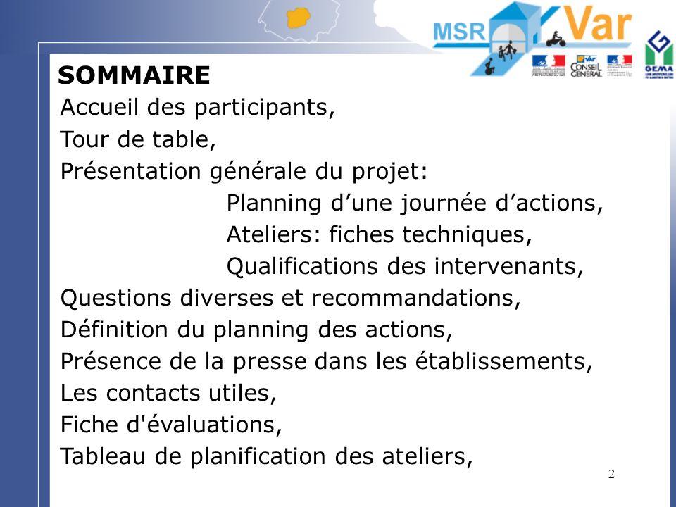 2 SOMMAIRE Accueil des participants, Tour de table, Présentation générale du projet: Planning dune journée dactions, Ateliers: fiches techniques, Qual