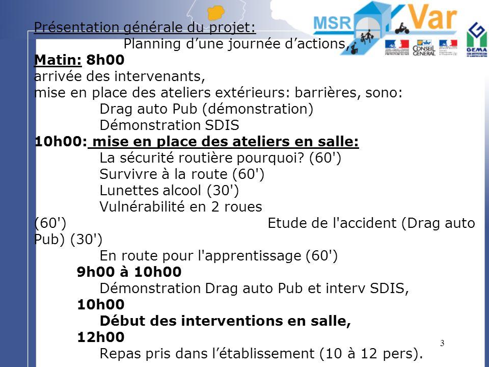 4 Présentation générale du projet: (suite) Planning dune journée dactions, A-midi: 13h00 Reprise des interventions en salle: Ateliers: La Sécurité Routière pourquoi.