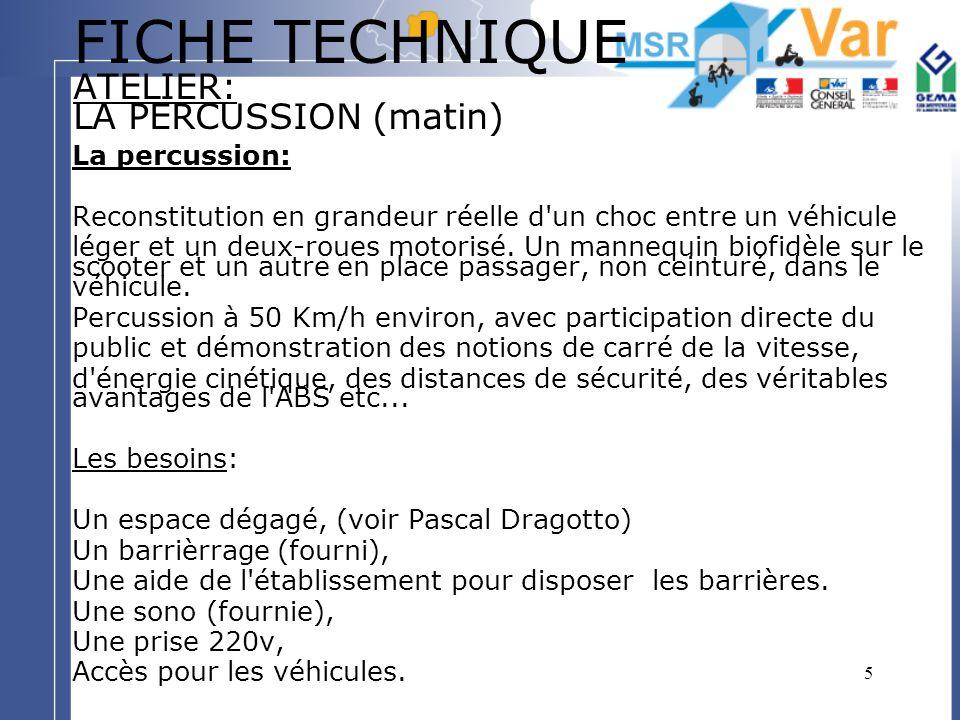 5 FICHE TECHNIQUE ATELIER: LA PERCUSSION (matin) La percussion: Reconstitution en grandeur réelle d'un choc entre un véhicule léger et un deux-roues m