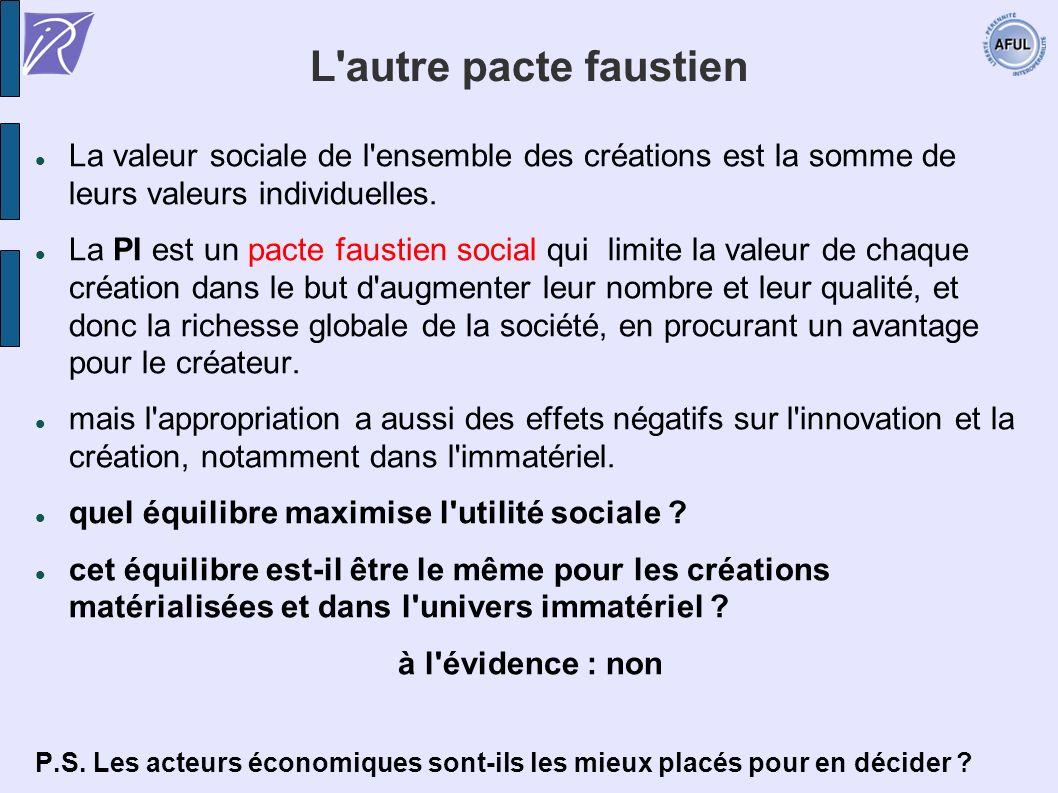 L'autre pacte faustien La valeur sociale de l'ensemble des créations est la somme de leurs valeurs individuelles. La PI est un pacte faustien social q