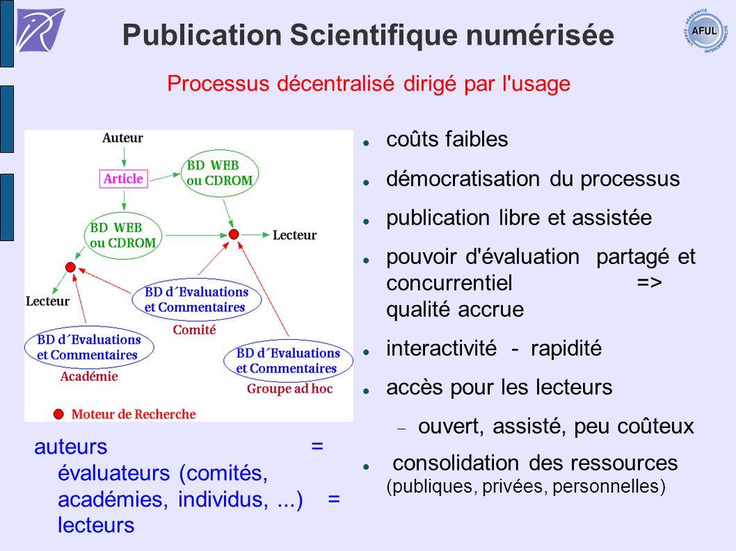 Publication Scientifique numérisée Processus décentralisé dirigé par l'usage coûts faibles démocratisation du processus publication libre et assistée