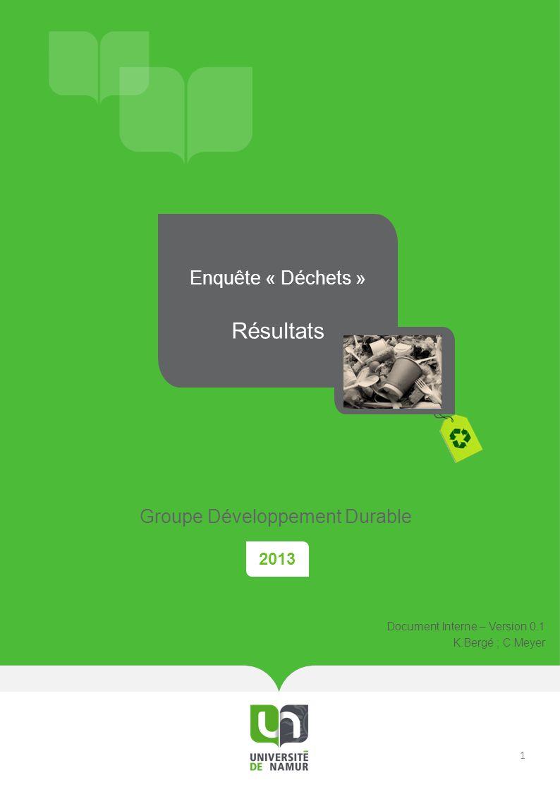 2013 Enquête « Déchets » Résultats Groupe Développement Durable Document Interne – Version 0.1 K.Bergé ; C.Meyer 1